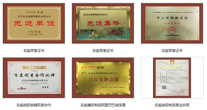 名振硅胶制品 荣誉证书